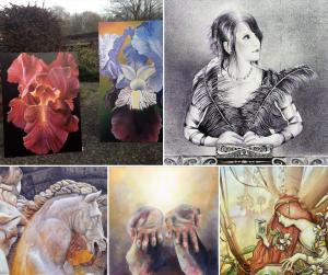 Foto Auswahl von 5 Kunstwerken von Sara Heinrich Malerei Fine-Art Blumen Portrait Haende Skulptur